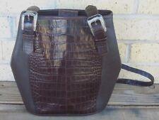 Brighton Croc Print Hobo Handbag~Braided Straps~Silver Tone Hardware