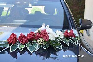 Excl. Autoschmuck Rose rot-creme, Hochzeit, Braut  Neu