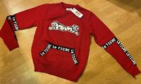 Le Tigre Sweater Men's 80's styled Solid Red authentic knit New w Tags