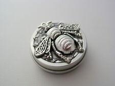 Killer Giant Bee Platinum Antique Silver Finish Pill Purse Nug Jar Tin Box