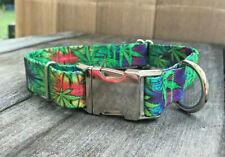 1 inch Weed Leaf 420 Cannabis Pot Leaf Adjustable Dog Collar with Metal Buckle