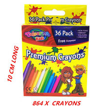 864 X CRAYON CRAYONS WITH FREE SHARPENER - ASSORTED VIBRANT COLORS KID CRAFT FW
