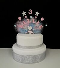 Heart and star with feathers birthday/christening  cake topper, any name and age