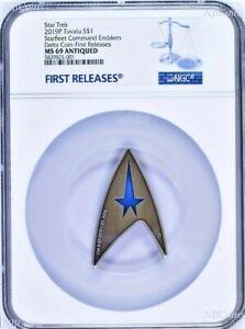 "2019 Star Trek STARFLEET COMMAND EMBLEM ""DELTA"" Antiqued Silver $1 Coin NGC MS69"