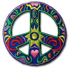 Peace Sign Patch Embroidered Applique Iron on Hippie Retro Sew Badge Race Biker