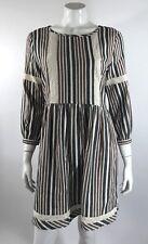 Ella Moon Womens Dress Size Medium Red Blue Green Cream Striped Cotton Boho