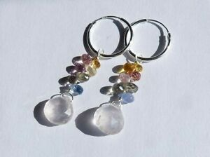 Earrings, Small Creole, Silver, Stones Precious