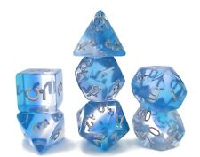 New 7 Piece Translucent Blue Gradient Polyhedral Dice Set – Blue Dice Bag