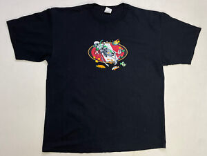 VINTAGE Amphibious Outfitters Skeleton Swimming Fish T-shirt Men's XXL Black