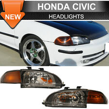 92-95 Honda Civic Sedan 4Dr Amber JDM Black Headlights