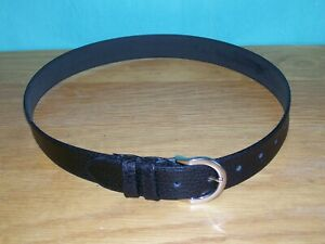 BLACK GRAINED GENUINE LEATHER BELT 26 - 31 inches WOMANS LADIES MADE IN ENGLAND