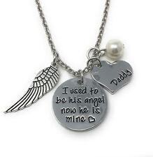 """925 Argento PLT """"HO usato per essere il suo angelo ora lui è mio"""" Collana PERDITA DI UN PAPA'"""