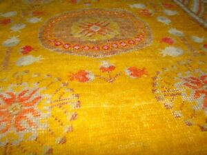 Antique Khotan Pomegranate Rug Mustard Yellow with cloud border