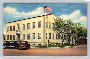 Hobbs NM, City Hall, New Mexico Linen Postcard