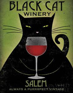 BLACK CAT WINERY - SALEM Retro Advertising Poster Art Print Red Wine Vintage
