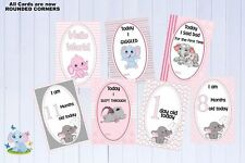 """Baby Milestone Cards Elephants Girl Pink 6""""x4"""" Pink Pkt 35 Cards Printed  300gsm"""
