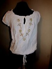 Beaded Hippie blouse sm Unique Spectrum summer tops new off shoulder option