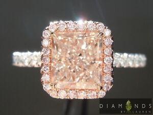 1.53ct Light Brown-Pink Radiant Diamond Ring R6639 DBL