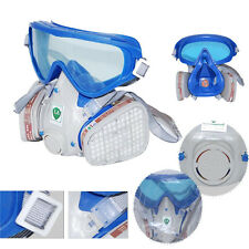 Respirator Gas Mask Safety Chemical Anti-Dust Filter facepiece Eye Goggles Set