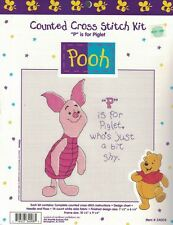 """Pooh #34008 """"P"""" is for PIGLET Counted Cross Stitch Kit Disney New Sealed"""