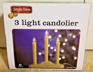 "Plastic Window Candle 3 Light Candolier Electric 9.5"" Tall, 9"" long"