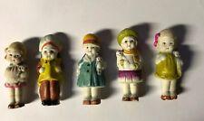 New listing 5 Vtg Ceramic Porcelain Made In Japan Frozen Dolls Figures Little Girl Firgures