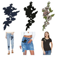 Rose Flower Applique Badge Embroidered Sew on Floral Collar Patch Jeans Craft