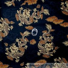 BonEful Fabric FQ Cotton Quilt VTG Black Gold Metallic DRAGON Chinese China Doll