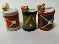 Lot Of Three Vintage Flocked Felt Drums Christmas Ornaments