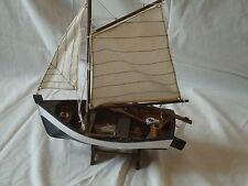 Modèle voilier & avirons sur support faite main de bois-navire maritime pêche