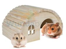 TRIXIE NATURAL WOODEN HAMSTER GERBIL HOUSE HIDE HUT CAGE ACCESSORY 18CM 61271