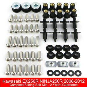 Complete Fairing Bolts Screws Fasteners Kit Set 2003 2004 2005 2006 2007 2008 ZZR600 Made in USA Silver