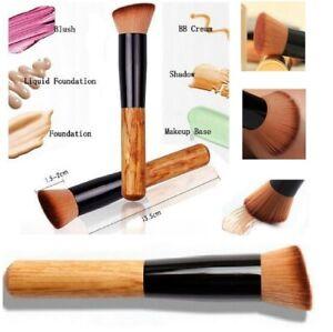Flat Angled Wooden Liquid Foundation Powder Contour Bronzer Makeup Brush Tool UK