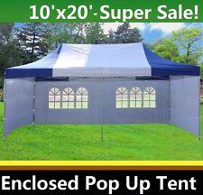 10'x20' Enclosed Pop Up Canopy Party Folding Tent Gazebo - Blue White - E Model