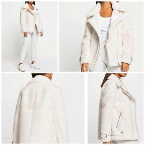 River island ladies aviator jacket size 16 BNWT , creamy ,warm and fluffy 🤗🙌🥰
