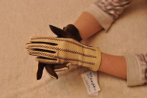 Women Italian geinuine Lambskin nappa  Leather  Unlined braided Ivory Gloves