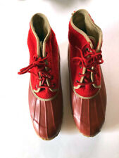 Sporto vintage womens red rubber rain shoes duck short ankle boots size 7
