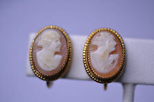 VINTAGE GOLD-PLATED OVAL CARVED SHELL CAMEO SCREW BACK EARRINGS