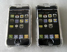 Pack de 2 cas de cristal transparent avec protecteur d'écran pour Apple iPhone 2G
