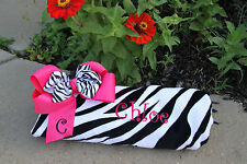 Personalized Embroidered Zebra Print Beach Towel and Hot Pink Zebra Bow Set