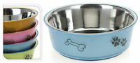 Large Stainless Steel Dog Pet Feeding Water Bowl Rubber Base - 4 Colours
