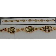 Damascene Gold Link Bracelet Oval Geometric by Midas of Toledo Spain style 2023