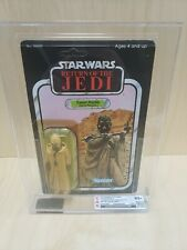 VINTAGE STAR WARS ROTJ TUSKEN RAIDER HOLLOW CHEEKS CAS 85+ BEAUTIFUL CARD UNP