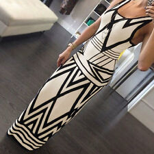UK Womens GEOMETRIC Bodycon Party Cocktail Ball Gown Long Maxi Dress Size 8-18