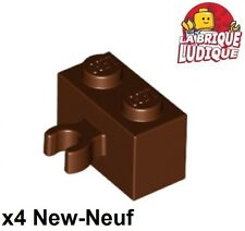 Lego - 4x Brique Brick Modified 2x2 Vertical O Clip marron/red brown 30237b NEUF