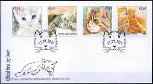 2021 Cyprus, pets, cats, kittens, FDC
