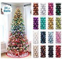 24x Glitter Christmas Baubles Xmas Tree Ornament Hanging Balls Christmas Decor
