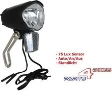 LED Scheinwerfer 75 Lux Sensor Standlicht Nabendynamo Fahrrad Fahrradlampe