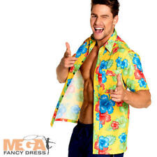 Hibiscus Hawaiian Shirt Mens Fancy Dress Tropical Hula Adults Costume Accessory