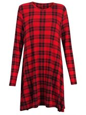 Womens Tartan Print Long Sleeve Swing Skater Dress Plus Size 8-26
